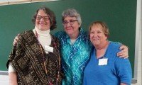 Donna Orchard, Mary Murphy and Mavis Jarrell following the March meeting.