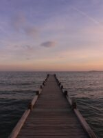 A cool autumn evening on the dock of Mobile Bay